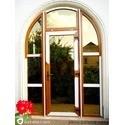 Арочные двери VEKA SOFTLINE 82 золотой дуб, со стеклопакетом 44 мм BRONZE RF