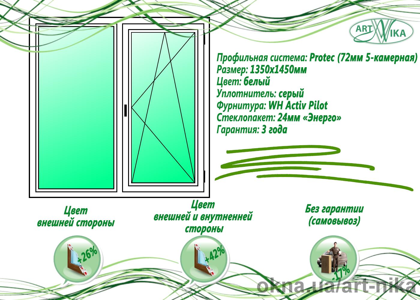 Окно ПВХ (пластиковое) 1350х1450мм Protec