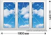 Окно трехстворчетое. Профиль VEKA EUROLINE AD 58mm 1800х1350