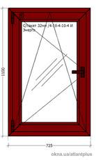 Ламинированное окно 725х1100. Профиль Veka Softline AD70