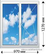 Окно двухстворчетое пластиковое, двухкамерный стеклопакет