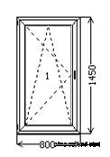 Окно одночастное с поворотно-откидной створкой из 3-х камерного профиля ALMplast.