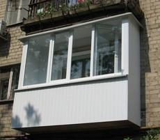 Остекление балкона в хрущёвке 3000*1500*1000 мм