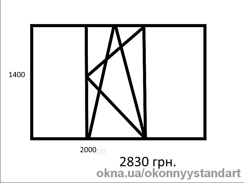 Трехстворчатое 2000*1400