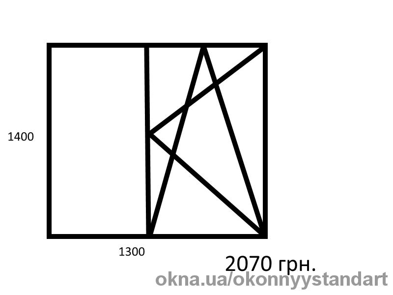 Двухстворчатое окно 1400*1300