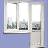 Балконный блок Опентек 60 2100х2100, однокамерный стеклопакет, окно с открыванием, фурнитура Vorne, без монтажа
