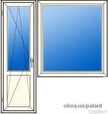 Балконный блок: дверь 700*2100, окно 1100*1400
