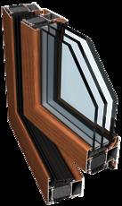 Очень теплое окно Ponzio PE 78N HI 1000х1400 мм с двухкамерным энергосберегающим стеклопакетом