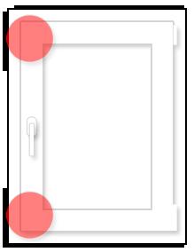 Одностворчатое окно: схема размещения противовзломных элементов