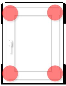Одностворчатое окно: схема размещения противовзломных элементов (RC1N)