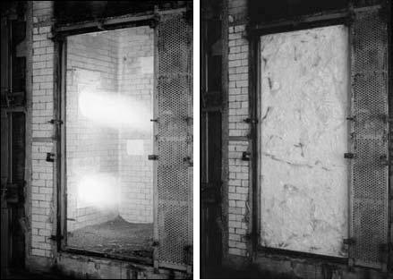 Огнеупорное стекло в начале и конце испытаний