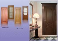 Дверне полотно фільончасте з масиву сосни, фільонки з МDF 16, покрите натуральним шпоном з двох сторін, покрашене поліурітановим лаком.