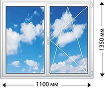 Двухстворчатое окно с двухкамерным стеклопакетом. Профиль VEKA.