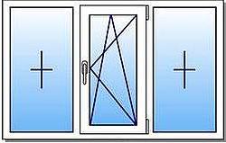 Окно КВЕ (трехстворчатое, с поворотно откидн. створкой)