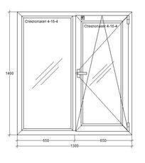 Окна OpenTeck Окна Металлопластиковые окна Окна металлопластиковые 1300х1400