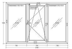Окна металлопластиковые из профиля WDS (Украина), 2100х1400мм, ст-т 4-10-4-10-4