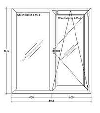 Окна металлопластиковые из профиля REHAU (Германия), 1300х1400мм, ст-т 4-16-4