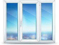 Тёплое окно VEKA трёхчастное для стандартного кирпичного дома.