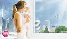 Купить пластиковые окна Rehau в Киеве. Окна с фурнитурой МАСО - двустворчатые, одна половина - глухая, вторая - поворотно-откидная, 1,50х1,2 м