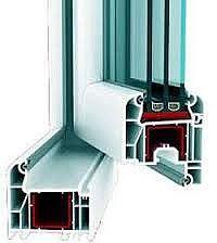 Двухчастное пластмассовое окно для гостиной из профиля WDS 505 с фурнитурой МАСО с однокамерным стеклопакетом 24 мм. Геометрия окна: ширина 1,1 м, высота 1,2 м.