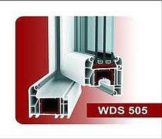 Двухстворчатое пластиковое кухонное окно из профиля WDS 505 с фурнитурой МАСО с однокамерным стеклопакетом 24 мм. Геометрия окна: ширина 1,1 м, высота 1,3 м.