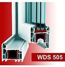 Двухстворчатое пластмассовое окно для спальни из профиля WDS 505 с фурнитурой МАСО с однокамерным стеклопакетом 24 мм. Габариты окна: ширина 1,1 м, высота 1,4 м.