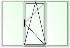 Трехстворчатое окно с наружной ламинацией, профиль Almplast фурнитура Vorne, стеклопакет однокамерный с энергсбережением.