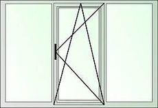 Трехстворчатое окно с наружной ламинацией, профиль Rehau e60 фурнитура Maco, стеклопакет однокамерный
