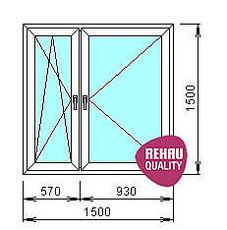 Двустворчатое окно REHAU, с поворотной и поворотнооткидной створками
