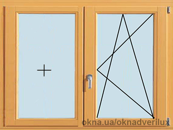 Двухстворчатое окно, поворотно-откидное с глухим.