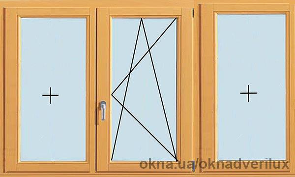 Трехстворчатое окно, глухое, поворотно-откидное, глухое.