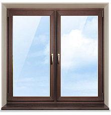 Ламинированное металлопластиковое окно Rehau (1400х1320 мм) в спальню от производителя