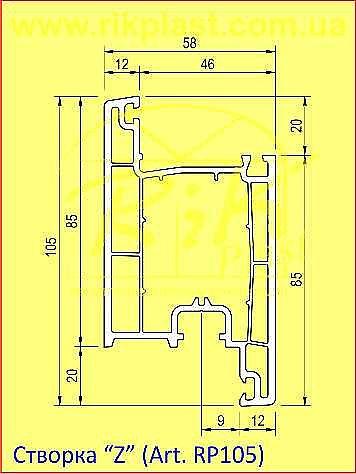 Дверная Z-створка 105 мм., цвет белый