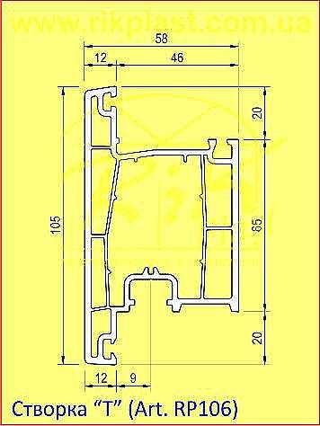 Дверная T-створка 105 мм., цвет белый
