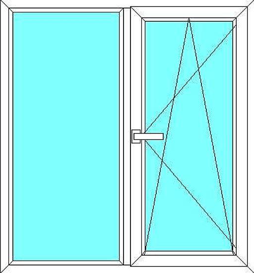 Окно (1300 * 1400) всего за 636 грн. из профиля RiKplast с использованием фурнитуры VORNE, стеклопакет - однокамерный (4-16-4)