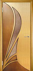 Двери межкомнатные шпонированные Корона ПО 2-х цветная остекленная