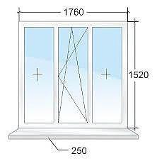 Окно кухонное ALMplast, Фурнитура Vorne 2,0х1,4мм.