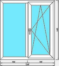 Окно WDS 400, фурнитура SIEGENIA 1.3х1.4