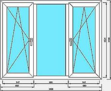 Окно кухонное ALMplast, Фурнитура Vorne 1, 9х1,4 мм.