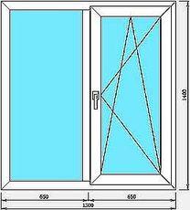Окно профиль Hoffen -фурнитура Siegenia 1,5x1,6