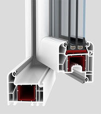 Одинарное металлопластиковое окно для частного дома из профиля WDS 505 (Украина), с фурнитурой МАСО (Австрия) с однокамерным стеклопакетом 24 мм. Размеры окна: ширина 0,6 м, высота 1,25 м.