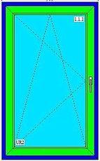 Металлопластиковые одностворчатые поворотно-наклонные светопрозрачные конструкции Rehauдля кухни с фурнитурой МАСО и однокамерным стеклопакетом 0,65х1,15 м