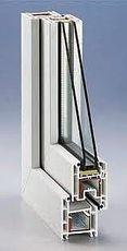 Новое окно ПВХ деленное на две части Rehau 1,05х1,10 м для кухни с фурнитурой МАСО и двухстекольным стеклопакетом.