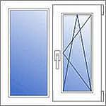 Окнно из ПВХ Рехау со стеклопакетом 1,0х1,05 м. Двухстворчатые металлопластиковые окна