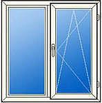 Окна из ПВХ профиля Rehau 1,05х1,6м. Двухстворчатые металлопластиковые окна