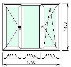 Трехстворчастое окно Aluplast ideaI 2000 с фурнитурой Sigenia 1750 мм х 1450 мм стеклопакет однокамерный энергосберегающий