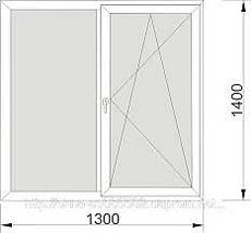 Двухстворчатое окно Aluplast Ideal 4000 с фурнитурой Sigenia. 1300 х 1400 с двухкамерным стеклопакетом