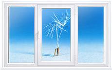 Трехстворчатое окно Rehau70 с фурнитурой Maco.
