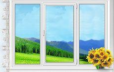 Трехстворчатое окно Fenster c фурнитурой Siegenia.