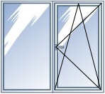 Окно пластиковое REHAU, деленое на 2 части с 1 открыванием